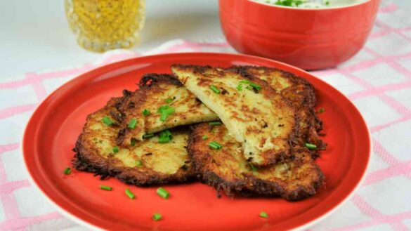 Homemade Hash Browns Recipe-Serving on Plate With Yoghurt Dip