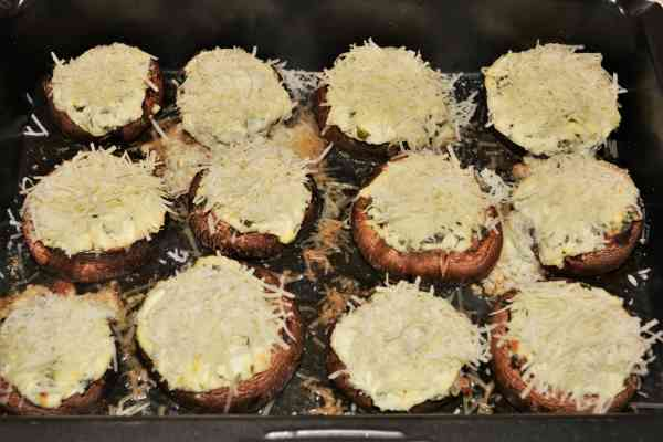 Stuffed Mushrooms With Cheese and Bacon-Half Baked Stuffed Mushrooms With Grated Grana Padano on Top