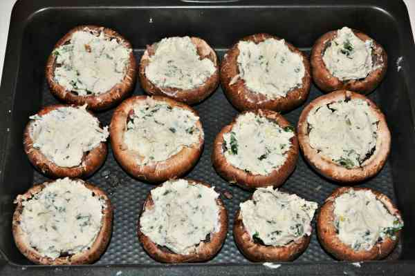 Stuffed Mushrooms With Cheese and Bacon-Portobello Mushrooms in Baking Tray Stuffed With Fried Pancetta and Onion and Cheese Cream