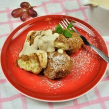 Best Cottage Cheese Dumplings-Served on Plate With Cream Fresh