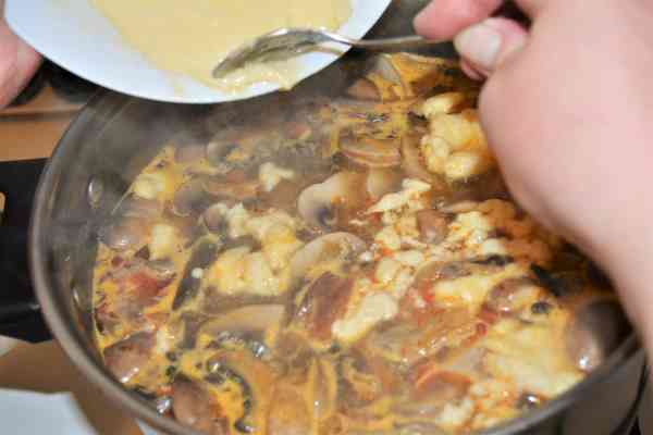 Best Mushroom Soup Recipe-Pouring Batter in the Soup