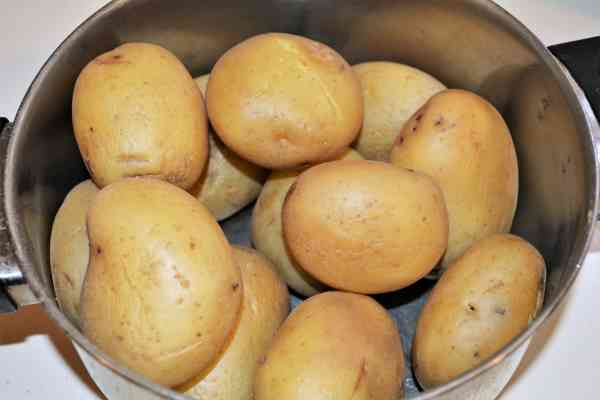 Easy Potato Moussaka Recipe-Boiled and Cooled Potatoes in the Pot