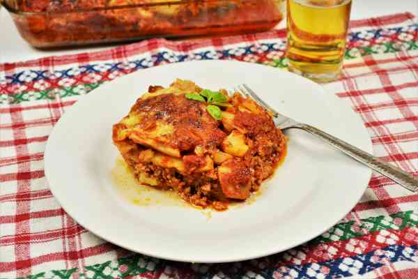 Easy Potato Moussaka Recipe-Served on Plate With a Fork