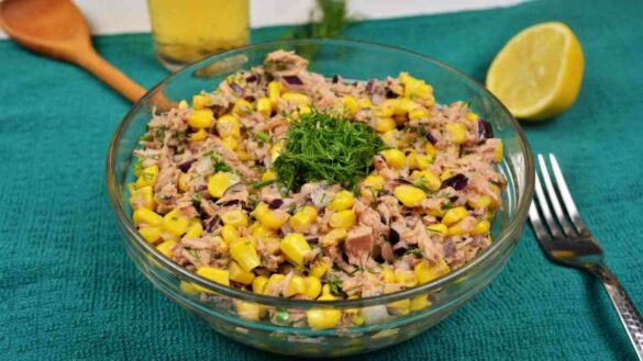 Tuna Corn Salad Recipe-Served in Bowl and With a Glass of Beer