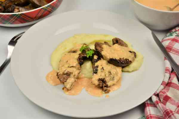 Fried Pork Liver Recipe-Served on Plate With Mashed Potatoes and Garlic Sauce