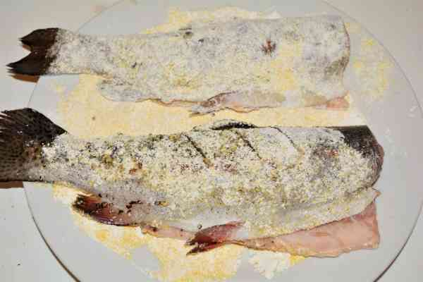 Pan-Fried Rainbow Trout Recipe-Trout Rolled on Flour Mix
